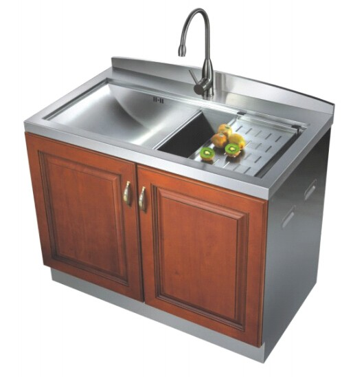 full handmade free standing stainless steel kitchen granite sink