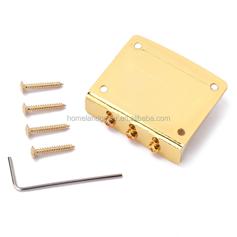 3 String Adjustable Guitar Bridge Tailpiece for Cigar Box, Chrome/Black/Gold