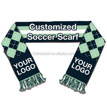 Low Minimum Order Quantity Good Quality 100% Acrylic Double Sides Knitted Jacquard Sports Fan Cheering Custom Soccer Scarf