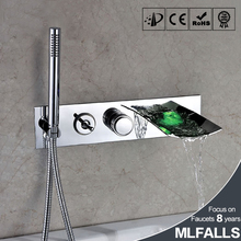 China factory sample tap,new techenology waterfall faucet led,chrome bathroom faucet shower