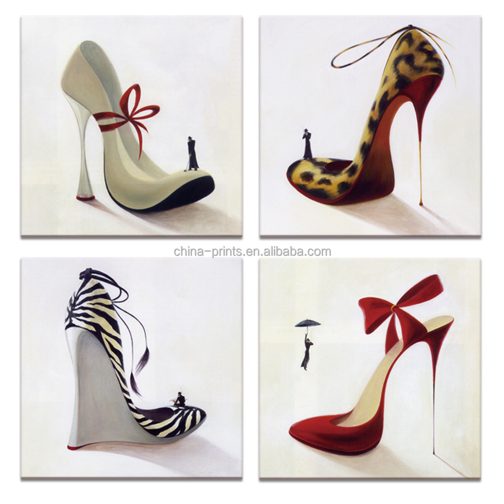 Animals Coat High Heel Canvas Wall Art Painting Prints for Shoes Shop Wall Decorate Pictures for Woman Dress Room Decor