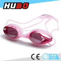 Pink mirror coating ladies stylish swimming goggles