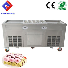 2017 Commercial Double Square Flat pan Stir thailand fry ice cream machine