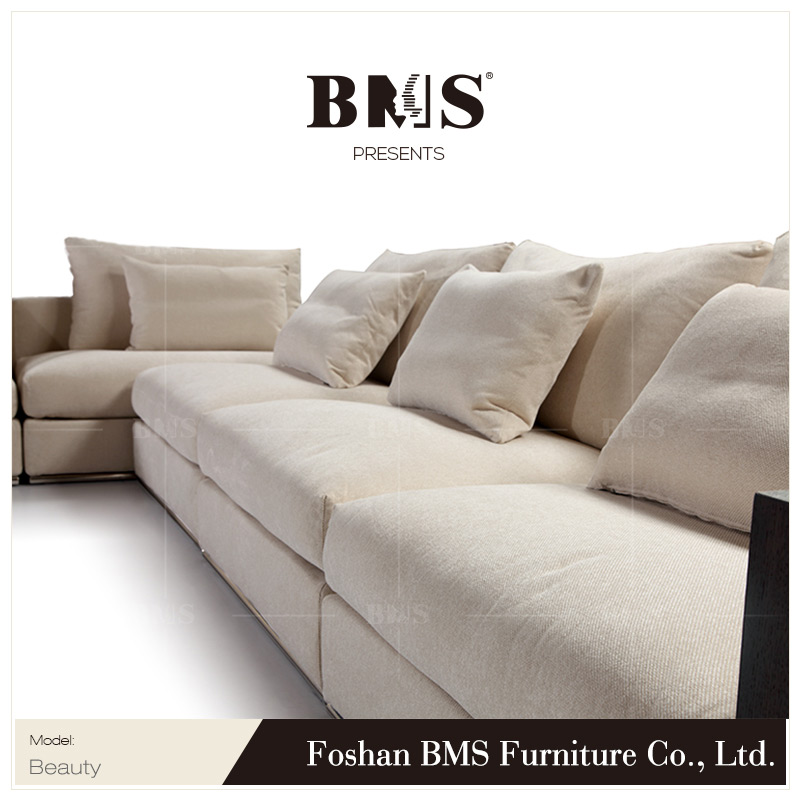Wooden arm style high quality L shape sleek sofa designs