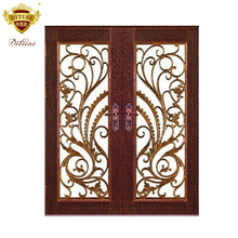 Villa & garden used exterior door wrought iron french doors HL-J39b