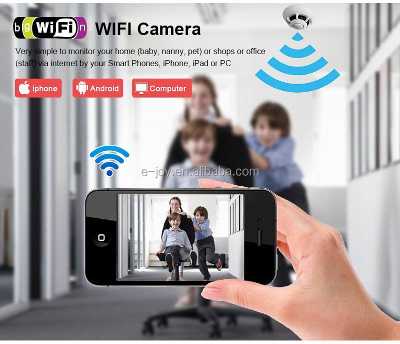 Iphone/Android smart phone WIFI direct monitoring P2P Function UFO camera ip wifi smoke detector camera,ip camera full hd wifi