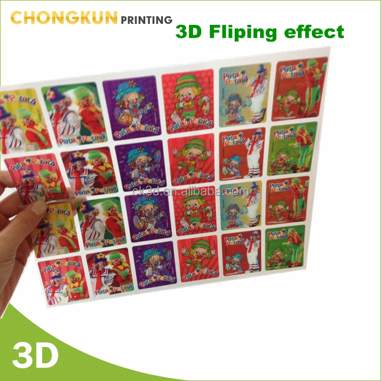 2 Joker Flipping 3D custom PET lenticular sticker for advertising
