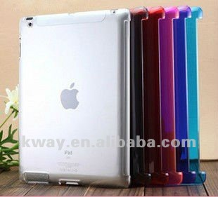 HOT! Clear Colorful Smart Cover Companion Case back cover for iPad 2/3/the new iPad Back Case KSL032