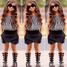 2017 New Summer wear Girls Casual TOPS + Short Clothing Set Suit Girls Clothe Fashion Wear Kids Strips Vest and Black Shorts