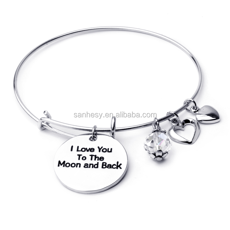 I Love you to the moon and back bracelet Personalized Bangle Costume Jewelry