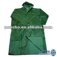 Green Waterproof PVC Common Size Raincoat for Hiking