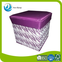 varied allover printing folding stool polyester canvas multifunctional fixed storage ottoman