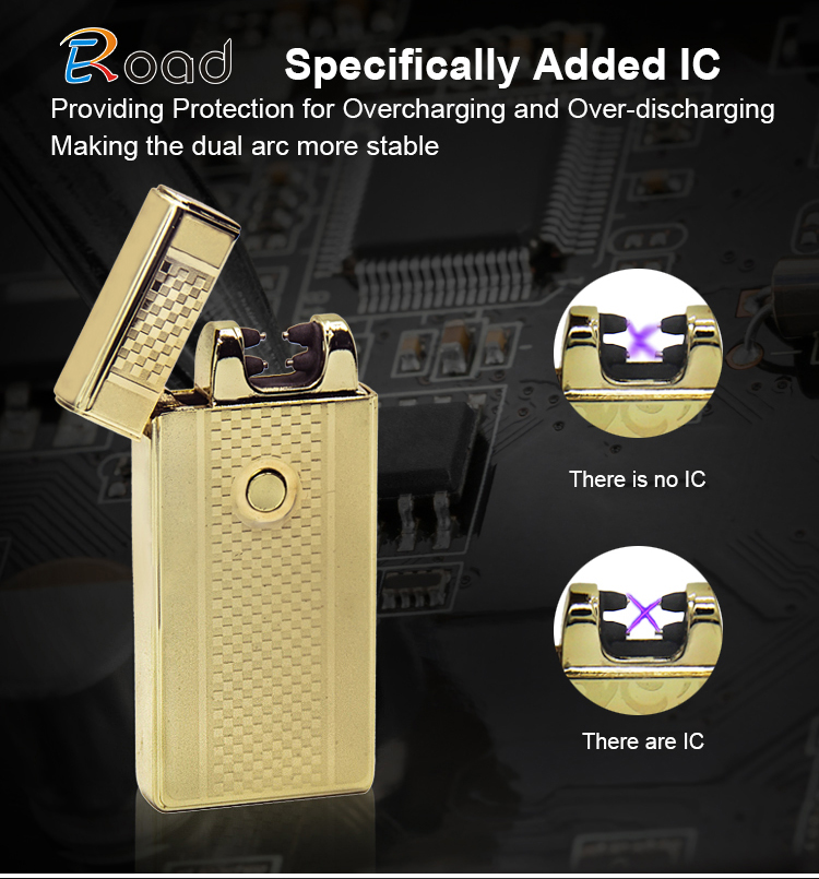 Eroad Exquisite Windproof Flameless USB Rechargeable Dual Arc Atomic Lighter
