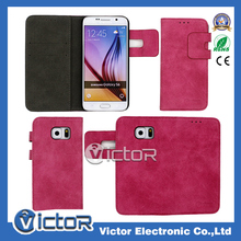 Hot selling velour leather wallet flip leather case for Samsung Galaxy S6 G920 with card slot
