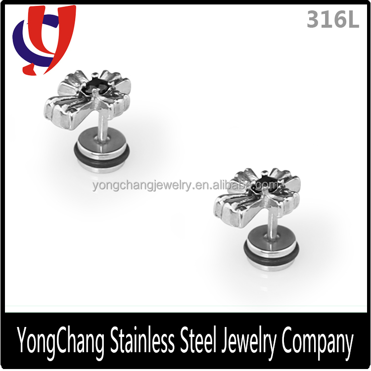Beautiful cross shape surgical steel stud earrings with a zircon