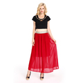 2018 New Fancy Red Chiffon Latest Long Skirt Design