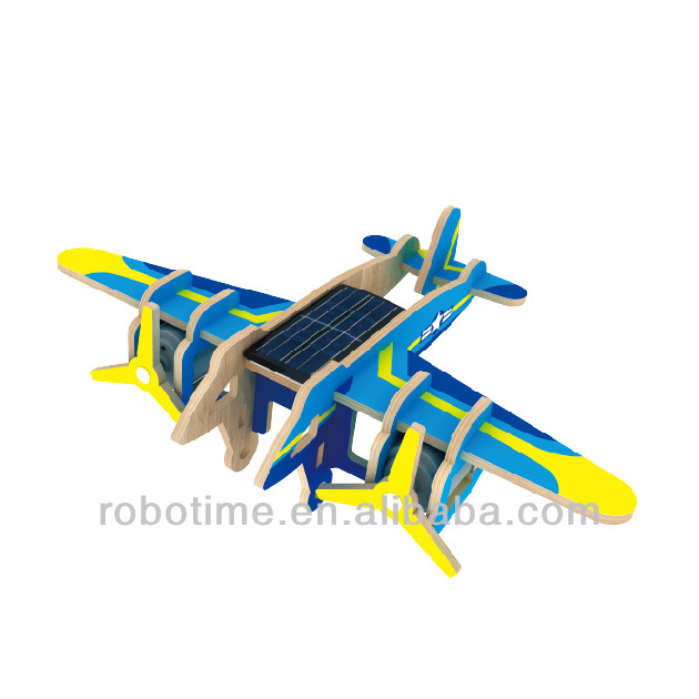 Wooden DIY 3D puzzle solar power toy plane - Bomber Plane