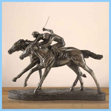 Resin European Two Men Racing Decoration Statues, Resin Imitation Metal Intense Horse Racing Home Decorations