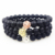 SN0353 Stock Gold Rose Gold Silver Plated Lion Head Bead Bracelet 8mm Matte Black Onyx stone lion Men Elastic wrist