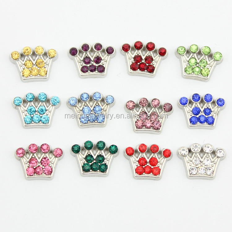Colorful 12 Months Birthstone Imperial Crown Floating Charms Fit Glass Locket