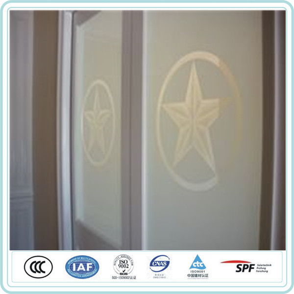 4mm frosted tempered glass light green low iron acid etched glass price