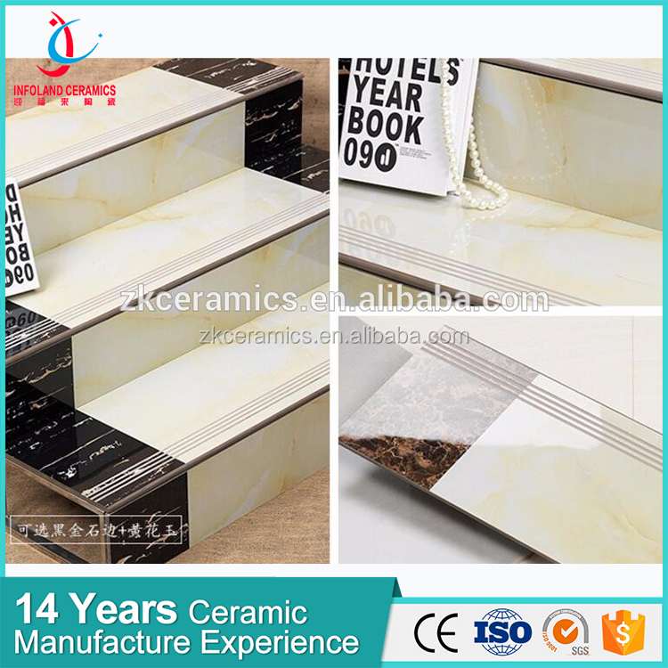 Marble Glazed Finish Stair Tiles,Ceramic Anti Slip Stepping Stairs Flooring Tiles