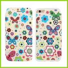 Butterfly Printed Premium PU Leather Wallet Flip Protective Phone Skin Case with Magnetic Closure for Apple iPhone 6S