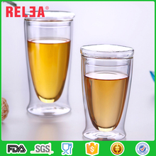 RELEA double layer transparent borosilicate glass water cup with lid