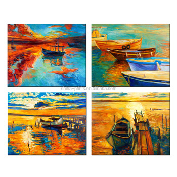 4pcs Oil painting Modern Abstract Painting on Canvas Sailboat Sunset Paintings Unframed Wall Art Picture Home Decor