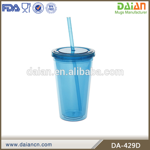 Logo printed 16oz plastic travel mug with straw