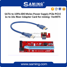 SATA to 15Pin IDE Molex Power Supply PCIe PCI-E 1x to 16x Riser Adapter Card USB 3.0 Data Cable 60cm for mining