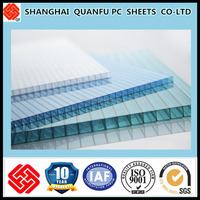 10-years warranty plastic sheet multiwall polycarbonate sheeting/sheets/panel/board used for skylight awning