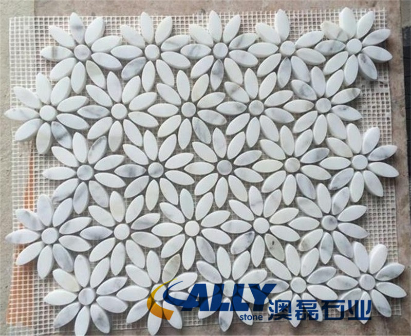 Carrara White Daisy Flower Honed White Marble Mosaic Tiles