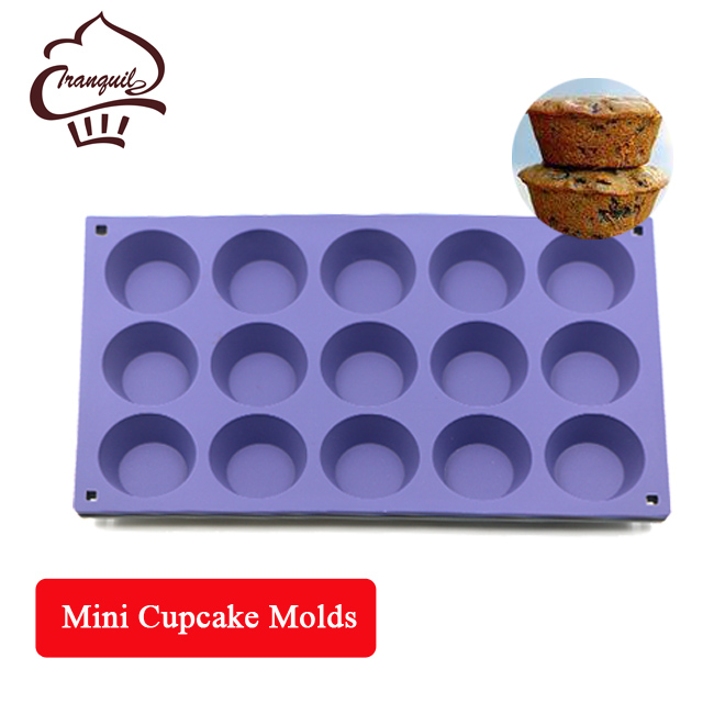 Heat Resistant Round Purple & Grey Mini Silicone Tart Cupcake Molds with 15 cavities