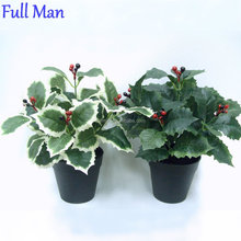 Plastic Red Berries/Holly Artificial Potted Flowers