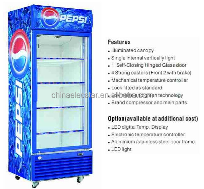 Pepsi Single glass Door Upright display Cooler,Chiller,Showcase 128 to 660L Capacity