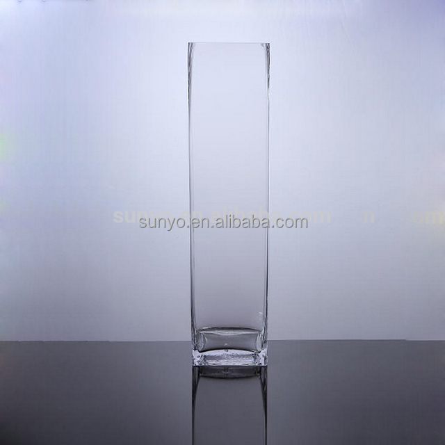 Square hand made lead free long glass vase /cube with customized sandblast, print, etched logo