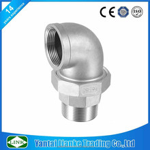 metric thread fitting BSP/NPT 150 LBS stainless steel 304/316 union elbow pipe fitting