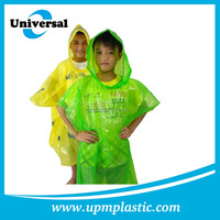 OEM factory PE rain poncho for bicycle with sleeve & the head