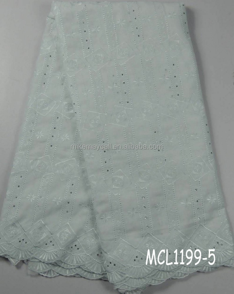Nigeria white polish man lace/african dry cotton fabric MCL1199-5