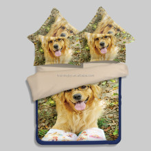 Queen 4pcs home textile 100% cotton dog 3d animal prints bed sheet set