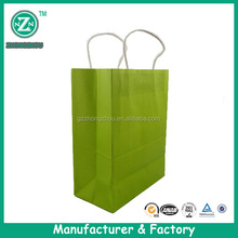 175g green plain kraft paper gift bag with twist handle