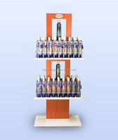 Customized freestanding wooden display stand for drinks for retail store