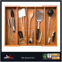 5 slots utility Expandable bamboo Drawer Dividers Silverware Utensils Cutlery Flatware Tray Organizer kitchen