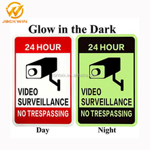 Glow in the Dark 24 Hours Video Surveillance Aluminum Warning Safety Sign