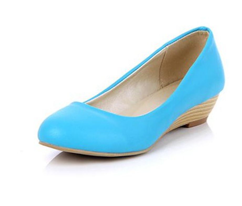 New arrival 2013 PU bow wedges single shoes plus size women's shoes 40 41 42 43 blue grey brown
