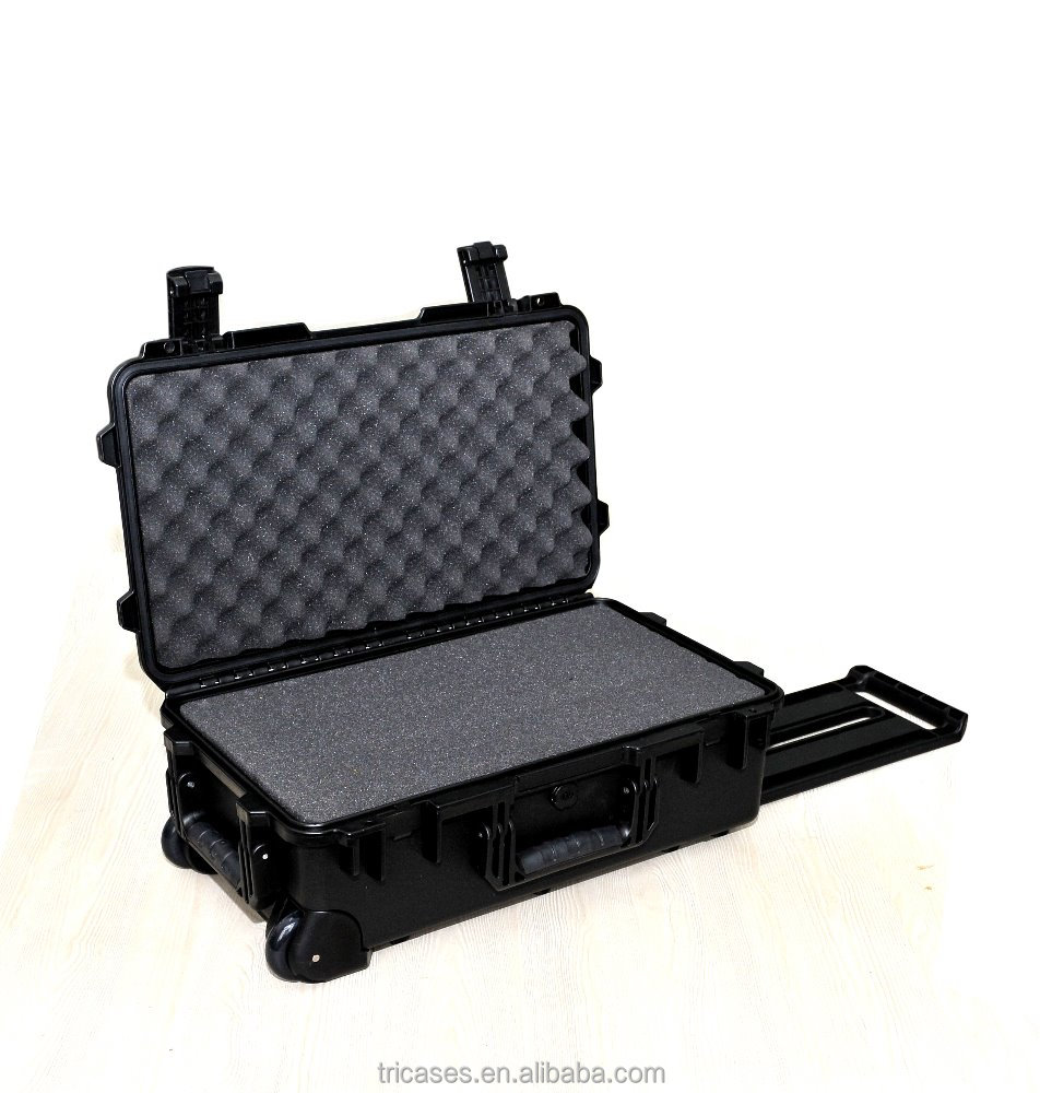 China manufacturer Tricases waterproof hard plastic instrument tool case with wheels and pull rod