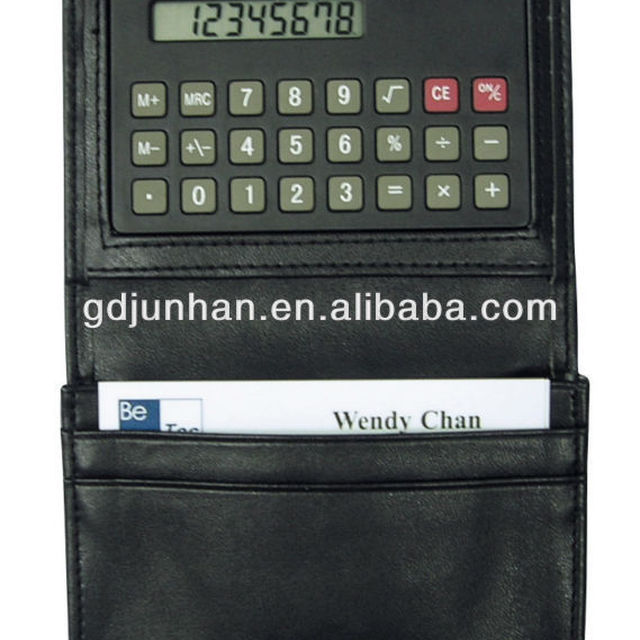 JH3001 PVC leather business card holder with calculator