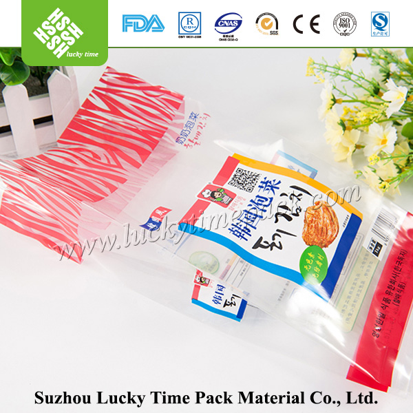 Biodegradable clear plastic bag with logo printing for Pickles