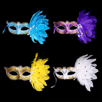 Free Shipping Custom Masquerade Feather Mask Mardi Gras Eye Masks Venetian Half Face Mask